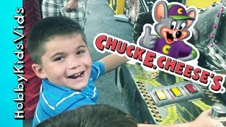 One of HobbyFamilyTV's most viewed videos: Chuck E Cheeses! Fruit Ninja Skee Ball Tickets Tokens Pizza Racing by HobbyKidsVids