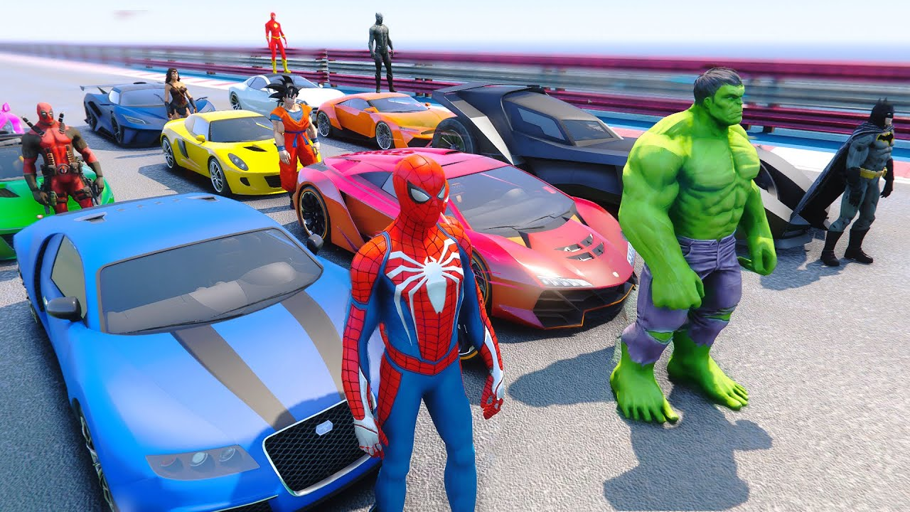 SpiderMan & Superheroes SUPER CARS Competition - GTA V MODS