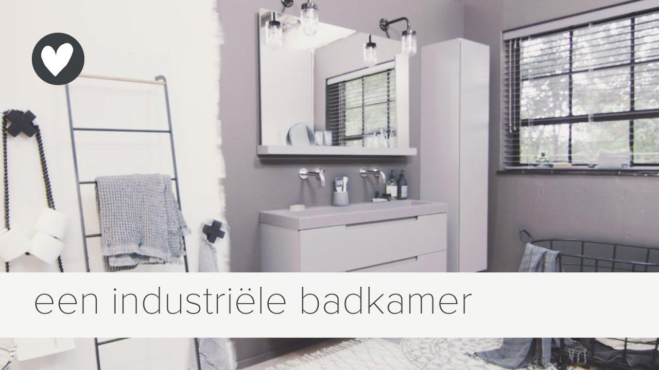 een stoere, industriële badkamer | vtwonen | tips - YouTube