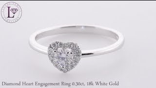 Diamond Heart Engagement Ring 0 30ct, 18k White Gold (lfdnr0795)
