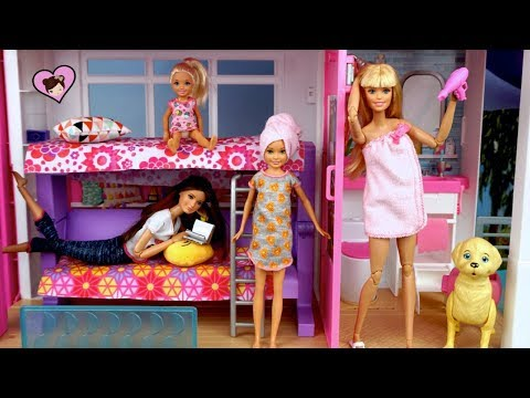Barbie Evening Routine - NEW  Dreamhouse Adventures with Chelsea Class Pet