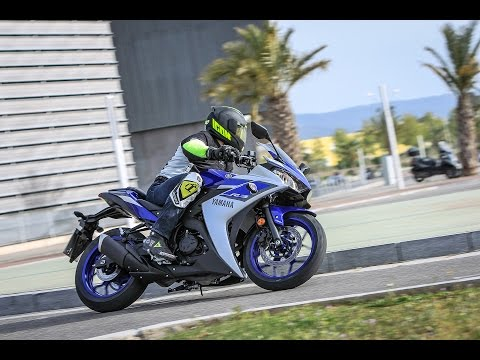 Yamaha R3 on racetrack