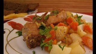 Домашние видео рецепты -  тушеные свиные ребрышки в мультиварке