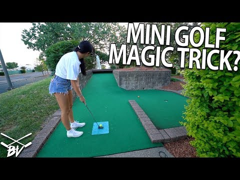 MINI GOLF MAGIC TRICK AT ONE OF THE WORST MINI GOLF COURSES WE'VE PLAYED!