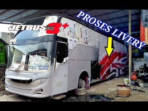 PROSES MODIFIKASI BUS JADI JETBUS3+ Tronton 2542 Di Medan Bus Harapan Indah