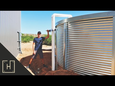 Rainwater Harvesting Downspouts For A 28,000 Gallon Water Tank & RAINWATER FOOTAGE!