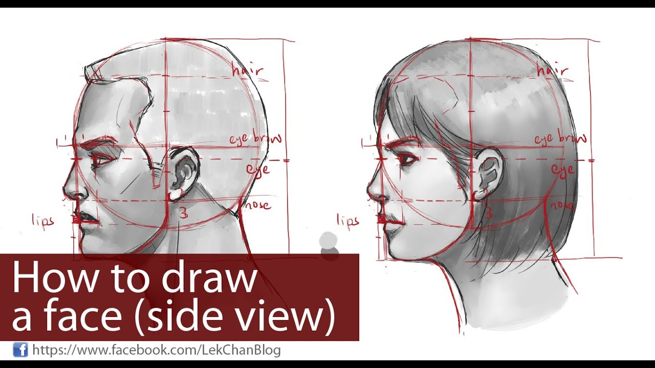 how to draw a face side view  [ 1280 x 720 Pixel ]
