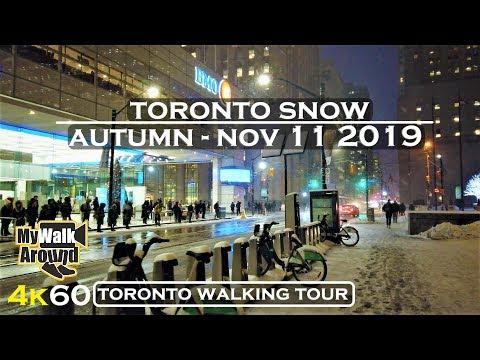 First big Toronto Snowfall of 2019 Autumn season ( Toronto 4k video walk)