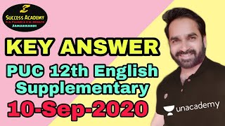 12th PUC KEY ANSWER SUPPLEMENTARY ENGLISH 2020