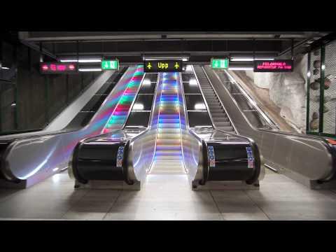 Sweden, Stockholm, Näckrosen subway station, U-Bahn, Metro, 4X elevator, 5X escalator
