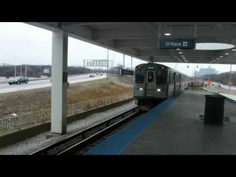 Chicago Transit Authority Blue Line Train to O'hare enters Rosemont