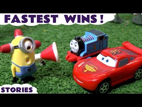 Disney Cars and Thomas and Friends Racing Stories with Minions and Hot Wheels Toys Fun ToyTrains4u
