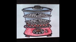 Как нарисовать пароварку   -    How to draw a steamer