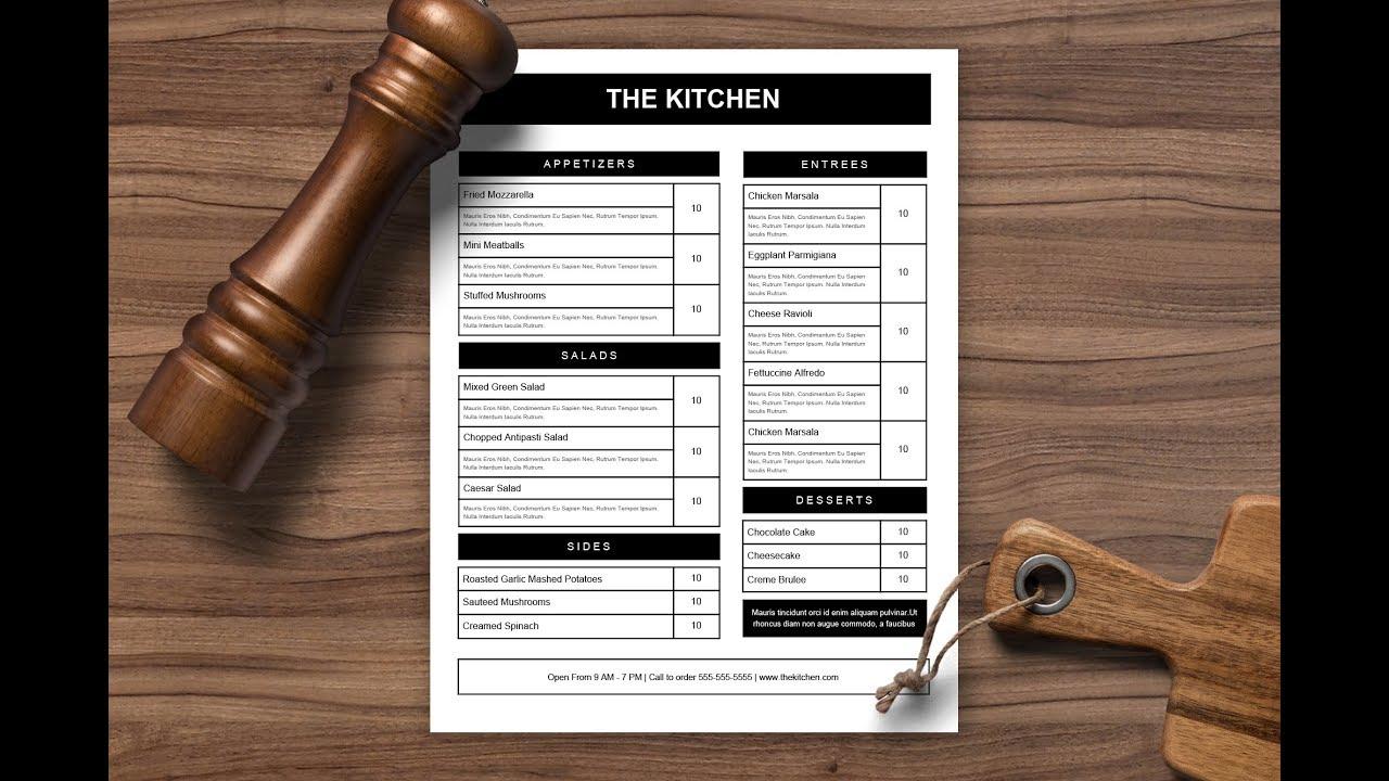 menu template in google docs youtube