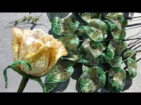 Ландыши из бисера. Цветы из бисера. Beaded lily of the