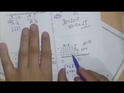 6.Sınıf Matematik Doğal Sayılarda Işlemler Kazanım Testi 1