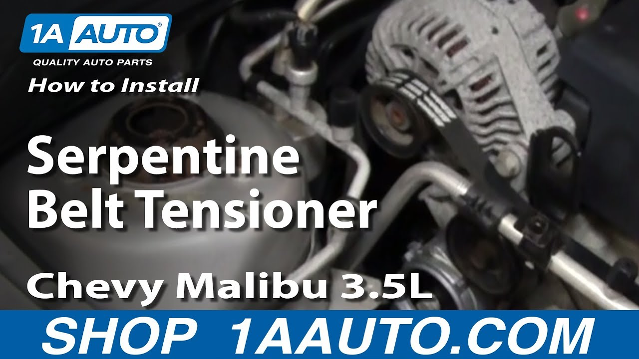 how to install replace serpentine belt tensioner chevy malibu 3 5l 04 06 1aauto com youtube [ 1920 x 1080 Pixel ]