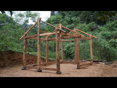 How To Build House, Full Shelter Build With Hand Tools | Primitive Skills