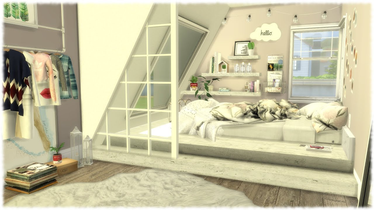 The Sims 4: Speed Build // TUMBLR BEDROOM + CC Links - YouTube