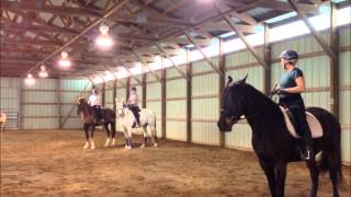 Dressage, riding posture and balance training, student and trainer examples