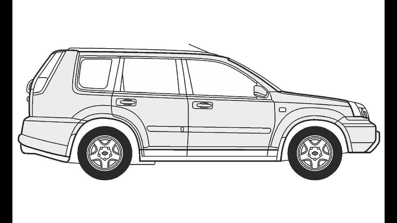 How to Draw a Nissan X-Trail / Как нарисовать Nissan X