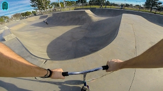 SCOOTER TRICKS AT AWESOME SKATE PARK!!