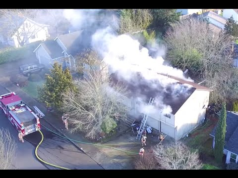 2 Alarm Structure Fire from a Drone with Roof operations, Salem Fire Department 2/2/16 Quadcopter