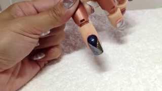 2 tone Chevron French   Lecente Stardust   CND Shellac   Empower Nail Art