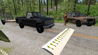 Police Chase Spike Strip Takedowns 2 - High Speed Crash Compilation - BeamNG.Drive Car Accident