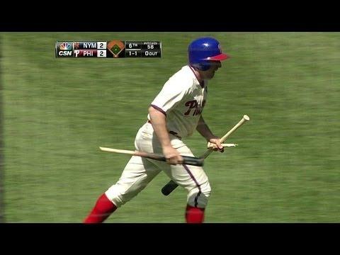 Byrd swings and misses but breaks his bat