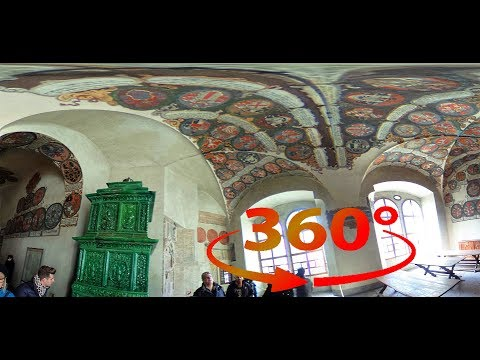 360 / VR ( 4k ) Old Royal Palace with Vladislav Hall inside Prague Castle - Prague, Czech Republic