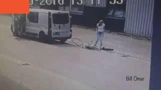 Girl on Bike Runs into Van