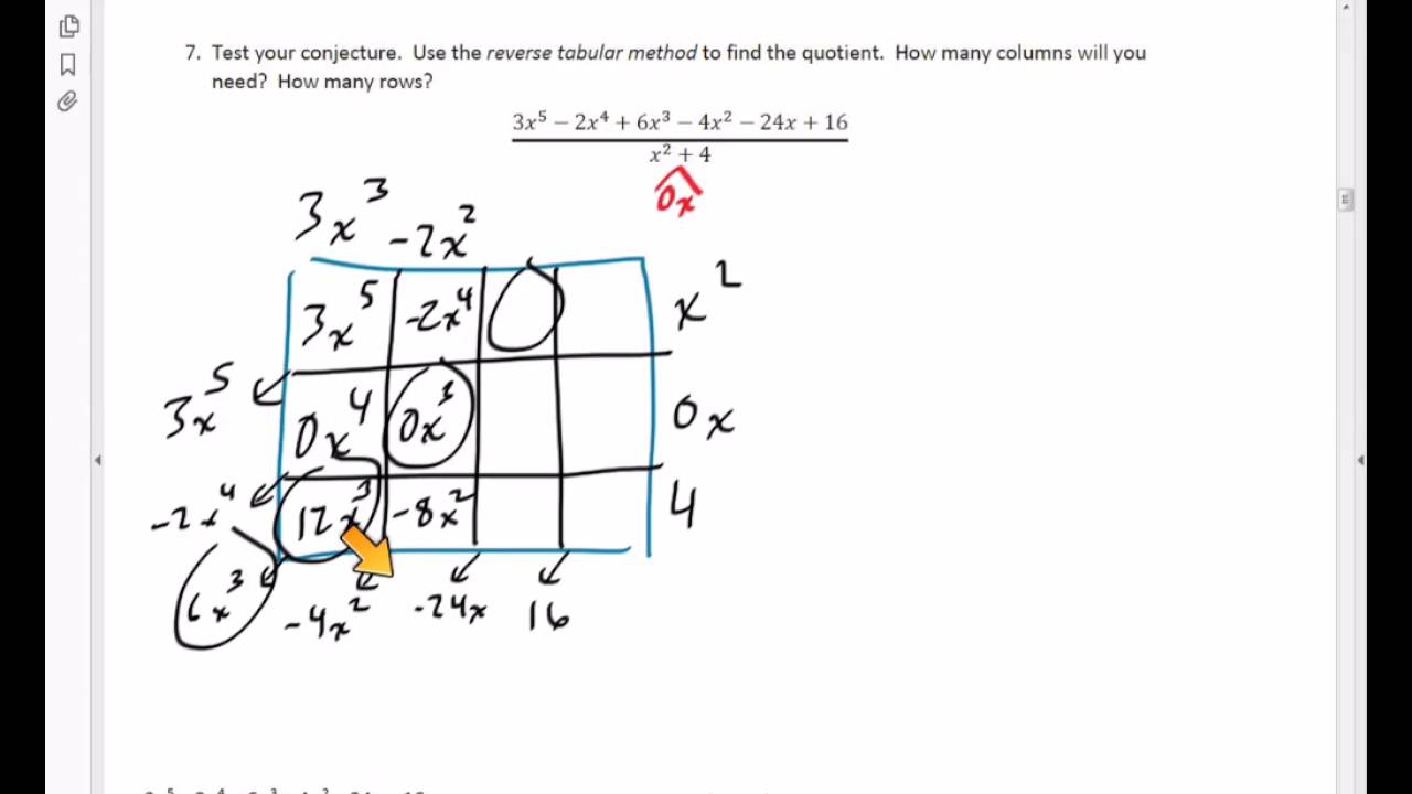 dividing using the reverse tabular method  dividing using the reverse tabular method 7