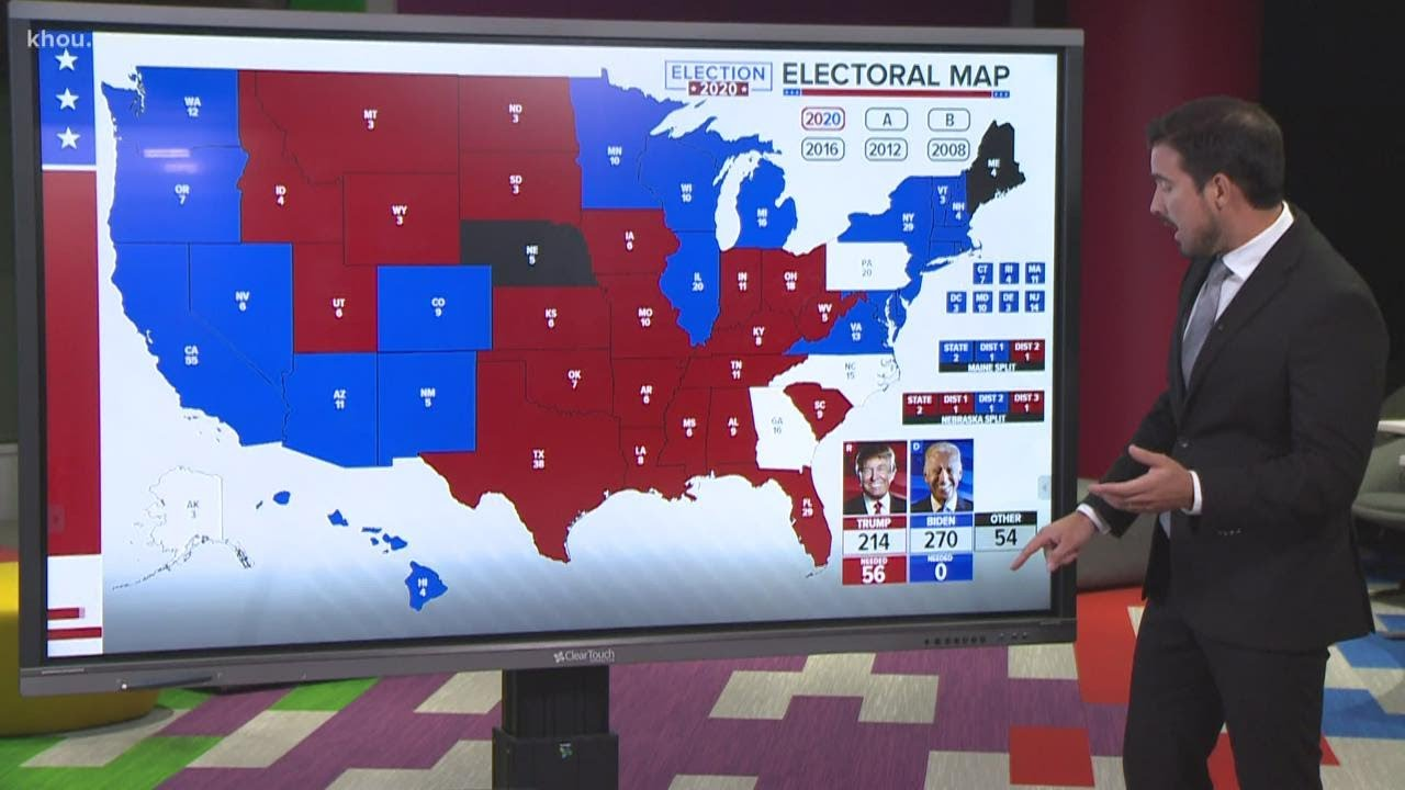 Electoral College update: Joe Biden holding 264 electoral votes, Trump has 214