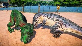 2 Acrocanthosaurus & 2 T-Rex Breakout & Fight! Jurassic World Evolution