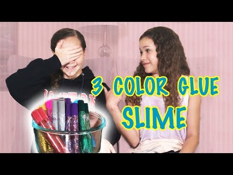 3 COLOR GLUE SLIME CHALLENGE!!! (Sierra vs Olivia Haschak)