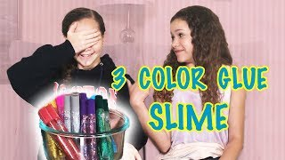 3 color glue slime challenge sierra vs olivia haschak