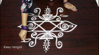 easy free hand rangoli designs with side borders    kolam with side designs    muggulu designs
