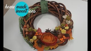 Autumn Crafts:  Fall Welcome Wreath #1 - Homemade inventions