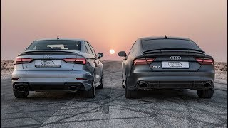 DRAGRACE AUDI RS3 SEDAN vs AUDI RS7 PERFORMANCE - Who's the Audi RS king