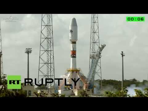 Lift Off! Soyuz rocket takes to the sky from French Guiana