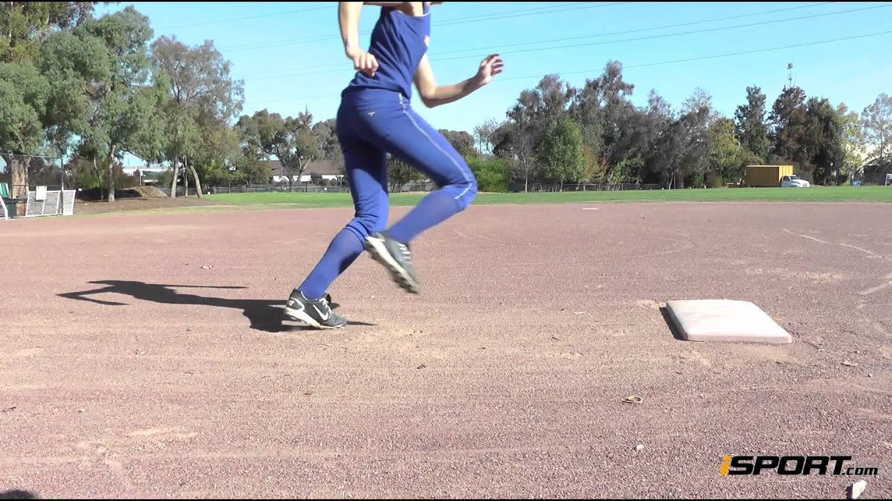 Isport >> Base Running in Softball: Rounding First Base - YouTube