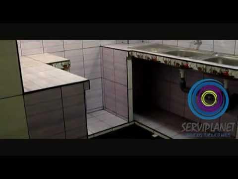 Cocina con mueble de concreto y enchapado youtube for Lavatorio cocina
