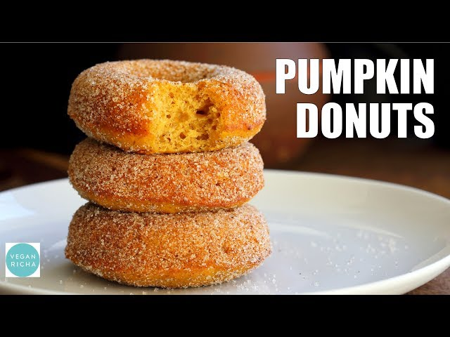 VEGAN PUMPKIN DONUTS With Cinnamon Sugar | Vegan Richa Recipes