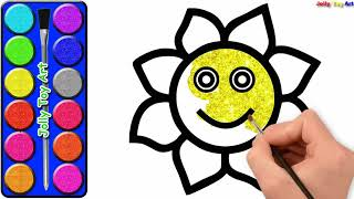 Learn Colors for Kids Glitter and Coloring    How to Draw Kitchenware for Children   Jolly Toy Art