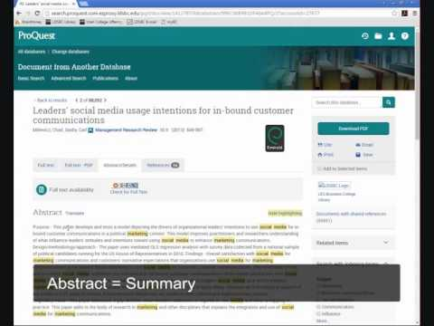 Reading an article record in ProQuest's Research Library Database