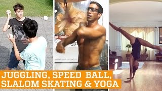 TOP FIVE: Inline Freestyle Slalom, Juggling & Speed Ball Boxing | PEOPLE ARE AWESOME 2016