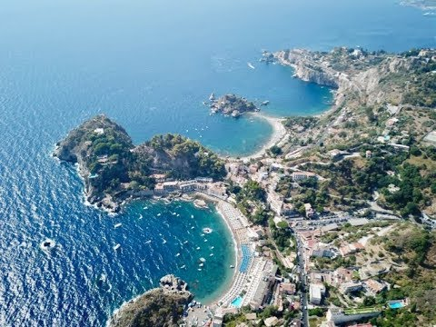 TAORMINA SICILY ISOLA BELLA via LAND AIR and SEA 4K *DRONE*
