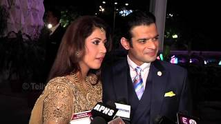 Karan Patel and Ankita talk to Media at Their Wedding Reception