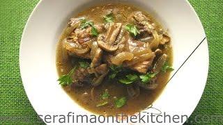 СТЕЙК с луком и грибами. Говядина с луком и грибами